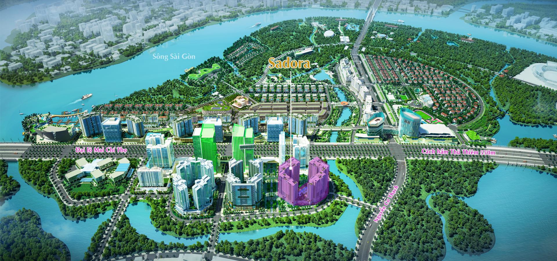 Căn hộ Sadora với vị trí trung tâm ngay lõi khu đô thị Thủ Thiêm, cạnh bên dự án Hồ Trung tâm khu đô thị Thủ Thiêm